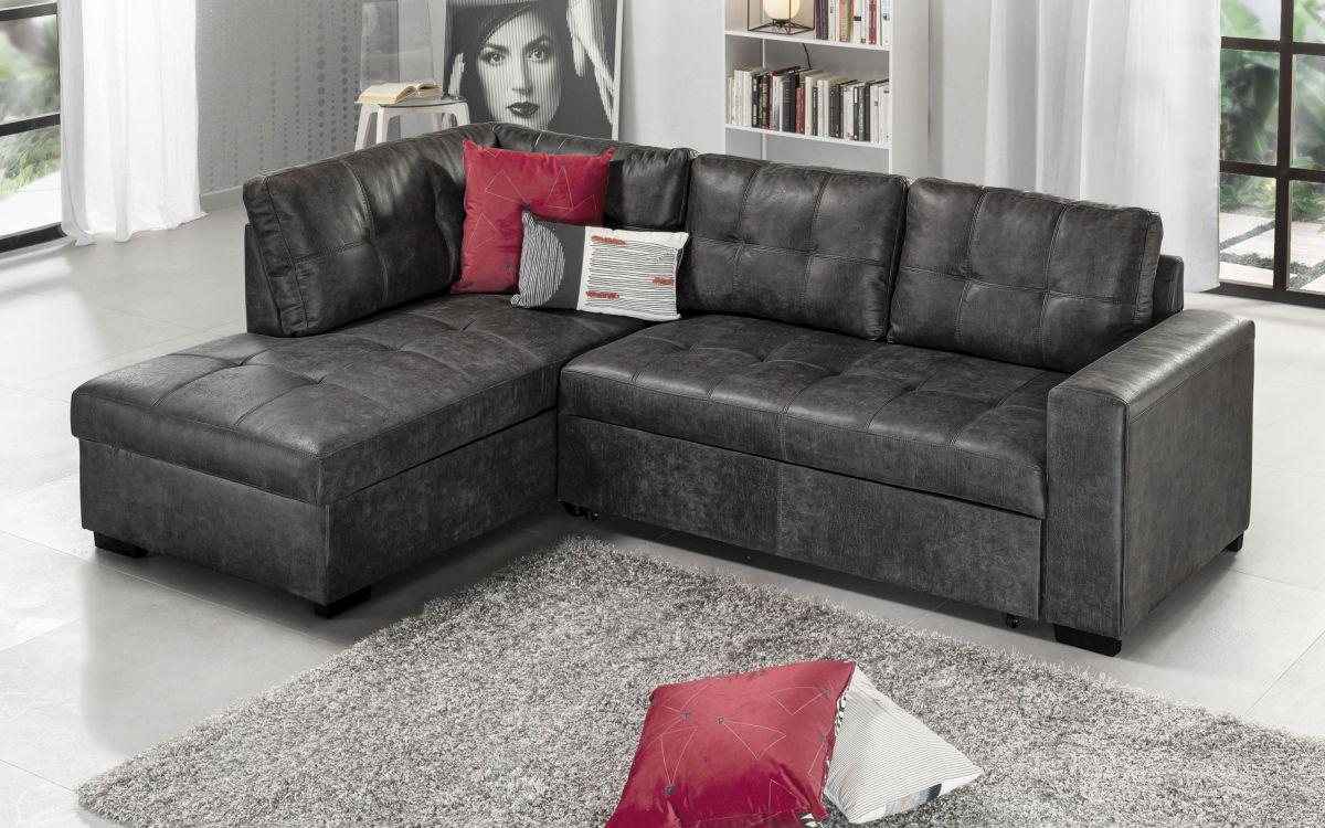 Sofá cama rinconero similpiel gris -     1ZDI 01